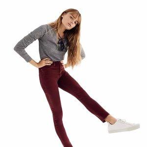 """Madewell 10"""" High Rise Velvet Skinny Jean 27"""